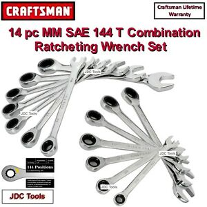 New Craftsman 10 Pc Piece Ratcheting Wrench Set Polished Metric Mm