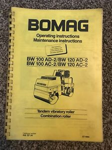 Bomag Bw 100 120 Ad Ac Tandem Vibratory Roller Operating Maintenance Manual