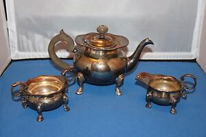 Lawrence B Smith Vintage Silverplate 3 Piece Tea Service Shabby Chic