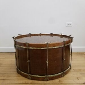 Vintage Marching Band 30 Bass Drum Military Drum Coffee Table Resin Top