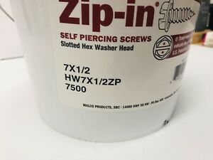 Malco Hw7x1 2zp Zip in Screws With Hex Washer Slotted Head 7500 Count Commercial