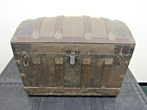 Antique Metal Wood Camelback Trunk Chest Steamer Steampunk Vintage