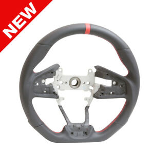 Handkraftd D Shape Leather Steering Wheel W Red Stripe For 16 17 18 Honda Civic