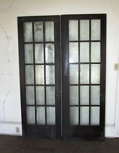 15 Lite Estate Find French Wood Door Glass Architectural Vintage 30 X 89 1 2 Ea