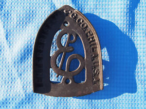 Antique Sad Flat Iron Trivet Enterprise Phila Usa Cast Vintage Iron Holder