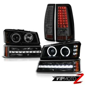 2003 2006 Chevy Silverado 2500hd Smokey Tail Lights Black Bumper Lamp Headlamps