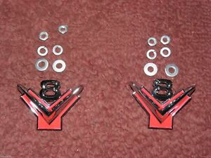 1954 1955 1956 Ford V8 Front Fender Emblems Pair 1955 T Bird