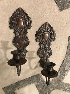 Nice Pair Of Metal Wall Sconces Candle Holders Beautiful Detail