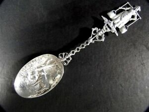 Vintage Dutch Sterling Silver Figural Girl Fancy Cow Scenic Bowl Spoon