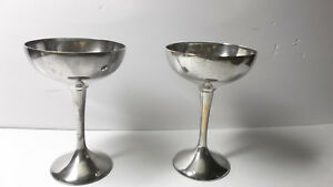 Pair Of Vintage International Silver Co Wine Glasses Goblets Silverplate 6 Tall