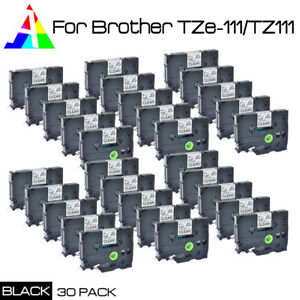 Us Stock 30pk Tz Tze 111 Black On Clear Label Tape For Brother P touch 6mm