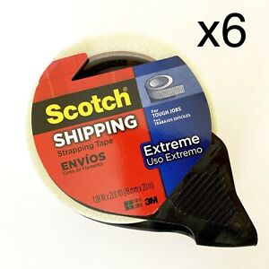 6 Rolls Scotch Extreme Shipping Tape With Dispenser 1 9 X 21 8 Yd Each