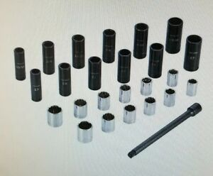 New Craftsman 25 Piece 1 2 Inch Drive Impact And Chrome Socket Set 9 42203