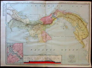 Panama Canal Zone Profile C 1913 Huge Rand Mcnally Detailed Map