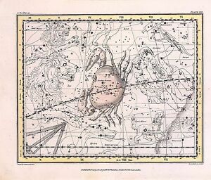 1822 Astrology Atlas Print Poster Old Old Crab Cancer Constellation Zodiac 24