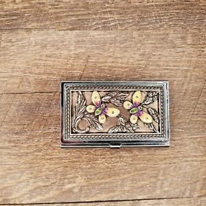 Brighton Business Card Holder Butterfly Floral Design Silver Credit Card Case
