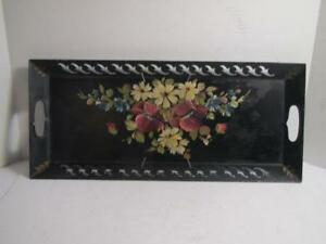 Vintage Hand Painted Metal Toleware Tole Tray Rectangle Black Gold Flora L K