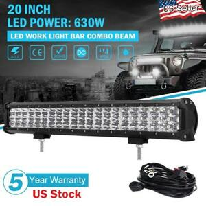 20inch 630w Cree Led Light Bar Flood Spot Work Driving Offroad 4wd Truck Atv Ute