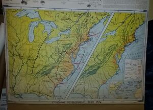 Vintage Pull Down School Map Colonial Development Struggle For A Continent