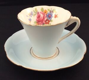 Grafton China Bone China Fan Handle Baby Blue Roses Tea Cup And Saucer