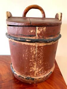 American Primitive Signed Folk Art Small Bucket W Cover In Original Paint