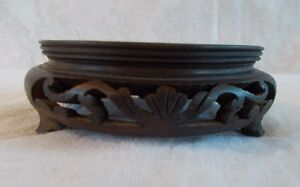 Antique Vintage 20th Century Carved Wood Display Stand 3 Legs Lot M