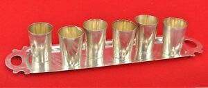 Imperial Russian 84 Silver Tray With 6 Beaker Vodka Cups Marked Bi 171125