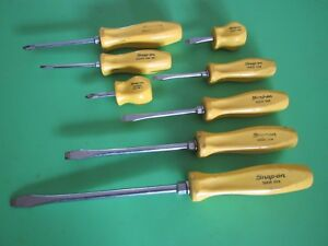Rare Snap On Yellow Handle Screwdriver Set 8 Piece Sddx80y Phillps Flat Sddx80
