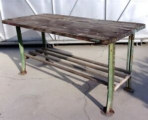 Vintage Antique Machine Age Industrial Work Table Desk Dining Table