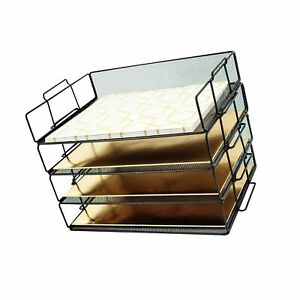 Blu Monaco Desk Organizers And Accessories Stackable Paper Tray 4 Tier Stac