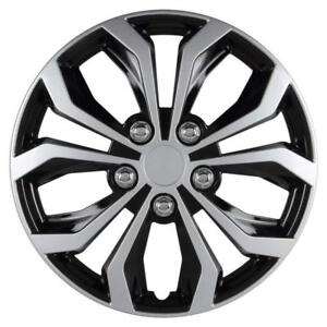 Black silver Finish 15 Inch Wheel Covers Set Of 4 Universal Fit Spyder