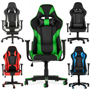 Ergonomic High Back Recliner Racing Gaming Office Chair Leather Armrest 4 Colors