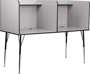 Double Wide Study Carrel With Adjustable Legs And Top Shelf Nebula Grey Finish