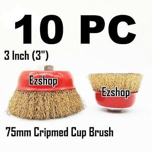 10 Pc 3 X 5 8 Arbor Fine Crimped Wire Cup Wheel Brush For Angle Grinders