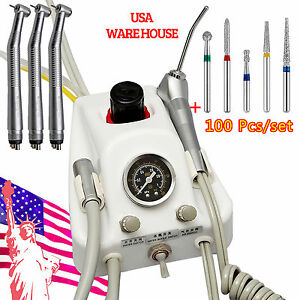 Dental Turbine Portable W 3 High Speed Handpiece 4holes 100 Diamond Burs Vzw