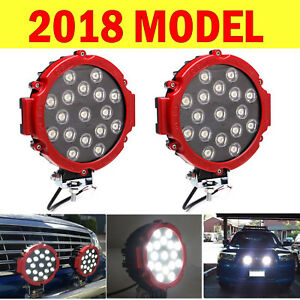 Red 2x51w Round Led Work Lights Cree Spot Driving Offroad Atv Suv 4wd Truck Lamp
