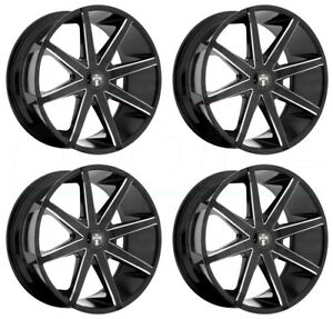 20x8 5 Black Milled Wheels Dub Push S109 5x4 5 5x5 5x127 30 Set Of 4