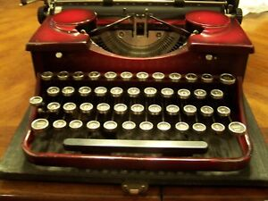 Antique 1930 s Royal Portable Red Typewriter With Case