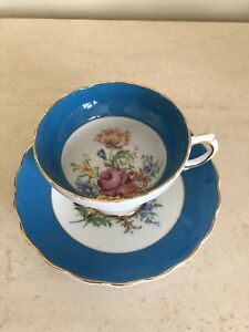Rosina Blue Border English Floral Garden Rose Bouquet Tea Cup And Saucer Set