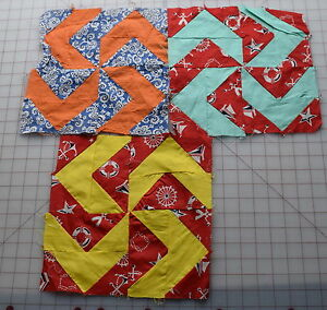 3 1940 50 S Shoo Fly Quilt Blocks Pretty And Bold Graphic