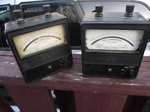 Two Vintage Sensitive Research Corps University Amp Meters One Rca Free Ship