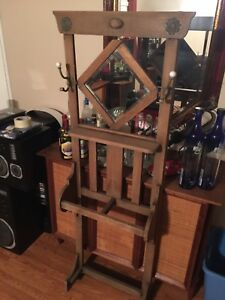 Antique Mission Style Hall Tree W Mirror Nice