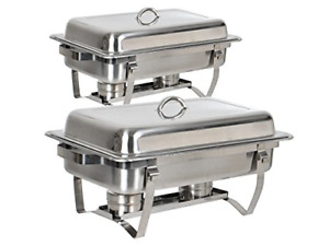 Tms Set Of 2 8 Quart Stainless Steel Rectangular Chafing Dish Full Size Buffet