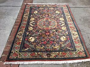 Authentic Vintage Persian Rug Bijar Hunting Design Handknotted