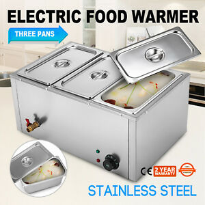 3 pan Food Warmer Steam Table Steamer Cafeterias Heavy Gauge Pans Hot Well