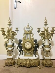 Vintage Large Imperial Lancini Clock Set Garniture C 1980