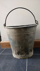 Vintage Bucket Galvanised Metal London A D L Pail Garden Planter Fire Salvage