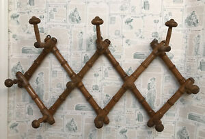 Vintage French Expandable Wood Wall Coat Hat Rack 1930s Faux Bamboo Design