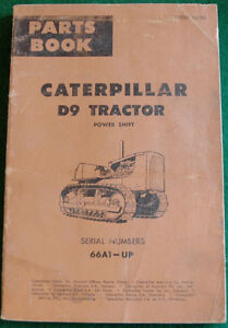 Vintage Caterpillar D9 Tractor Parts Book 1964 Ed