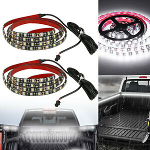 2x 60 Pure White Pickup Truck Cargo Bed Led Strip Light Kit W Switch Waterproof